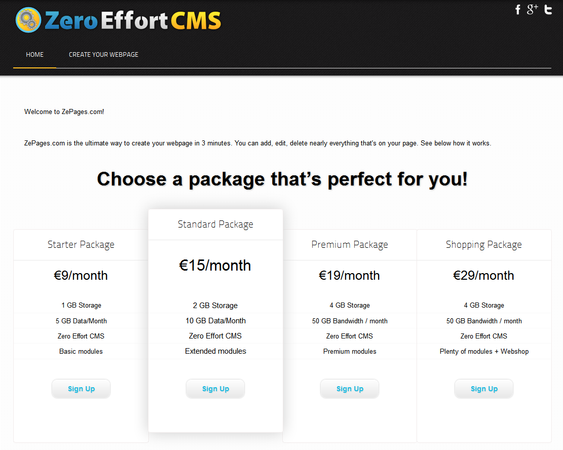 Zero Effort CMS is the easiest way to create and maintain your personal or companies webpage!